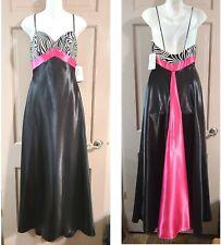 Gunne Sax Jessica McClintock Long Pink and Black Satin Dress Zebra Top Sz 5 NWT