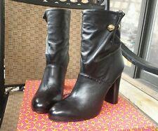 Tory Burch Black Leather Designer Ankle Boots Sz 9 Booties NIB Hills Women