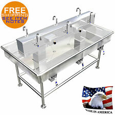"Island 6 Users Wash Up Hand Sink Lavatory 72"" x 40"" Stainless Steel Made In Usa"