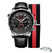 Rotary GS00195/04/KIT Interchangeable Strap Gents Pilot Watch, Black/Red
