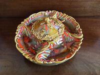 Vtg DeForest California Pottery Autumn Florentine Platter Tray With Lazy Susan