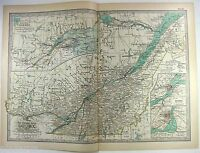 Original 1897 Map of The Provence of Quebec Canada by The Century Company