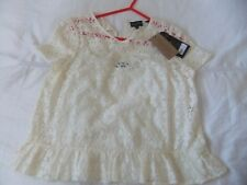 Jack Wills Wensley Lace  top with Frilled Hem IVORY Size UK 14 +cami