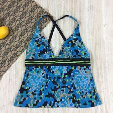 Nike Women's Swim Top Tankini Size 8 Turquoise Black Print Padded Cups
