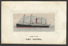 More details for postcard rms saxonia woven silk panel cruise ship early stevens antique shipping