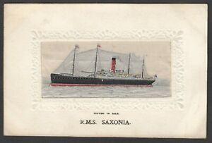 Postcard RMS Saxonia woven silk panel Cruise Ship early Stevens antique shipping