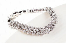 Womens 14K White Gold Finish 5 CT Diamond S Link Tennis Bracelet 7.5 Inches