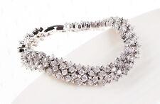 Womens 14K White Gold Finish 5 CT Diamond S Link Tennis Bracelet 7.5 Inches
