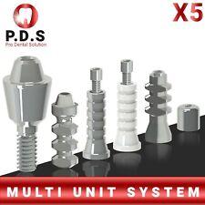 5x Dental Titanium Straight Multi Unit 1mm 6mm Length Full Set All Parts