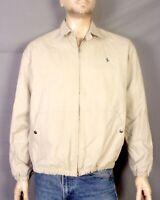 vtg 90s Polo Ralph Lauren Tan Full Zip Harrington Jacket Pony Flannel Lined sz M