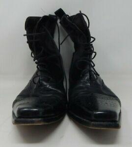Dsquared D2 Dsquared2 Black Leather Boots  SZ 44.5  11 USA Vero Cuoio