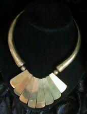 Vintage #Aztec Necklace Gold-tone #Tribal Bib Statement Choker Wood African Boho