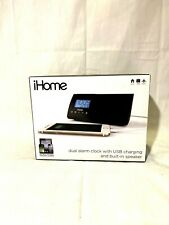 iHome iHM46BC Portable Dual Alarm Clock With USB Charging Built-In Speaker B