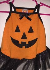 Pet Costumes Halloween Dog Dress Outfit Size Medium Orange Pumpkin Face Black