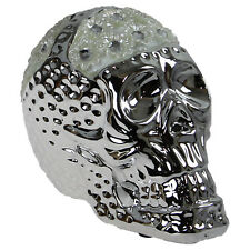 Silver Mille Skull Gothic Modern Home Office Figure Figurine Ornament Decoration