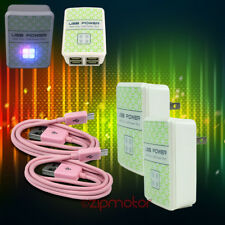 2X 4 USB PORTS WALL ADAPTER+10FT CABLE CHARGER PINK G2 OPTIMUS G PRO KINDLE FIRE