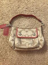 COACH POPPY CROSSBODY TAN SIGNATURE PINK LEATHER TRIM HANDBAG PURSE BAG 13833