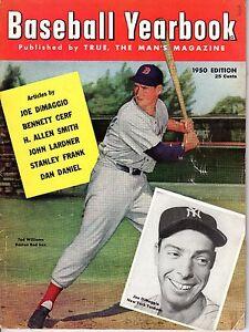 1950 Baseball Yearbook magazine Ted Williams, Boston Red Sox Joe DiMaggio ~ Fair