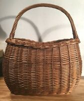 """Vintage Large Woven Rattan Wicker Basket with Handle, 15"""" x 9"""" x 18"""""""