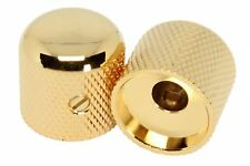 """Metal Dome Round Top Knobs for 1/4"""" solid shaft pots - Guitar Gold Set of 2"""