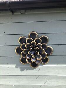 LARGE BLACK GARDEN FLOWER DECORATION - METAL WALL ART - 38CM - INDOOR OUTDOOR
