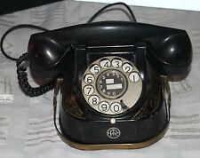 Telefono antiquariato Bell RTT 56b TELEPHONE VINTAGE BLACK BACHELITE con spina TAE