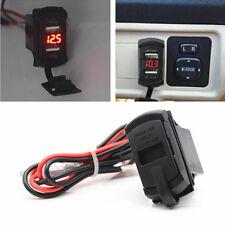 Car 12V-24V Red LED Voltmeter Boat ARB Jack Dual USB Phone Charger Port Socke