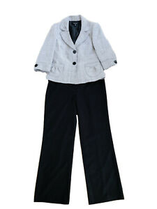 $240 NINE WEST 2 Pc Pants Suit Lined Women Size 10 M Black Gray Buttons Pockets
