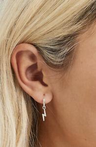 925 Sterling Silver 12mm Lightning Bolt Sleeper Hoop Earrings