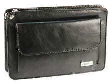 Visconti Mens Genuine Leather Compact Wrist Bag With Strap Ted 02617 Black