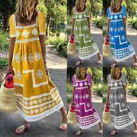 Womens Summer Casual Boho Print U-Neck Short Sleeve Big Swing Tassel Maxi Dress