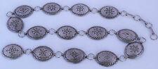 Vintage Large navajo rug stamp design sterling silver concho belt by Julia Smith