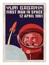 "Soviet Russian Space Propaganda Poster Print YURI GAGARIN 1961 18x24"" #SP015"