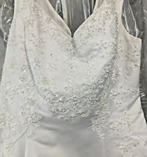 Davids Bridal Wedding Dress Size 24 White Lace Train Beads Straps New