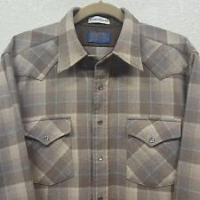 Vtg Pendleton High Grade Western Wear Wool Plaid Pearl Snap Rockabilly Shirt - L