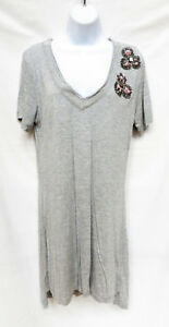 YOUNG FABULOUS & BROKE Womens Gray Floral Beaded V Neck Tee Shirt Dress S