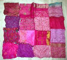LOT PURE SILK Vintage Sari Fabrics REMNANT 16 pcs 8 inch SQUARES PINK MAGENTA