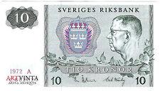 10 Zehn Schwedische Kronen Tio Kronor Sverige Sweden Ten Crowns Banknote 1972