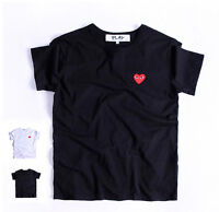 Fashion Popular Men Women Red Love Heart Cotton Short Sleeve Tee T-shirts New