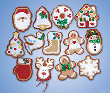 Felt Embroidery Kit Design Works 13 Gingerbread Men Christmas Ornaments #DW5393