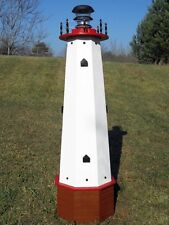 "48"" Solar lighthouse wood wellhead cover garden ornament - red accents"