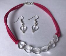 Hearts With Matching Earrings Dark Pink Leather Bracelet With