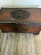 Antique Asian Cedar Chest Wood Carved