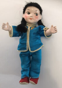 """Vintage Asian Doll 6"""" High Quality Silk Clothes Frozen Legs"""