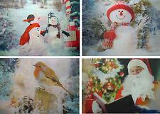 Noël Set de Table 4 Sets Table, Illusion Optique Lenticulaire Père Rouge-gorge