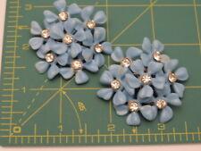 Vintage Blue Plastic Flower Bouquet Rhinestone gold tone Clip on Earrings 9a 4