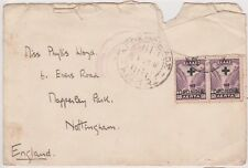 (V2-131) 1938 Greece 2 RED CROSS stamps letter to Nottingham (damaged) used (DY)
