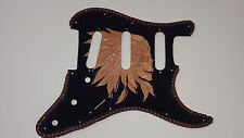 """Leather pickguard Custom Hand Tooled Leather Stratocaster """"Indian Skull"""" Laced"""
