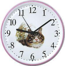 150314 Artline Keramik Katzen Uhr Tigerrkatze gr.meliert Pinkrand handbem.Quarz