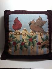 Cardinal Red/Brown Birds Country Needlepoint Reversible Pillow